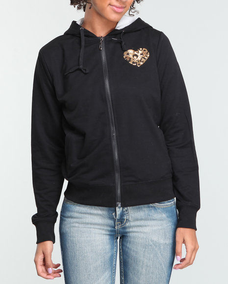 Basic Essentials Women Black Heart On Her Sleeve Hoodie