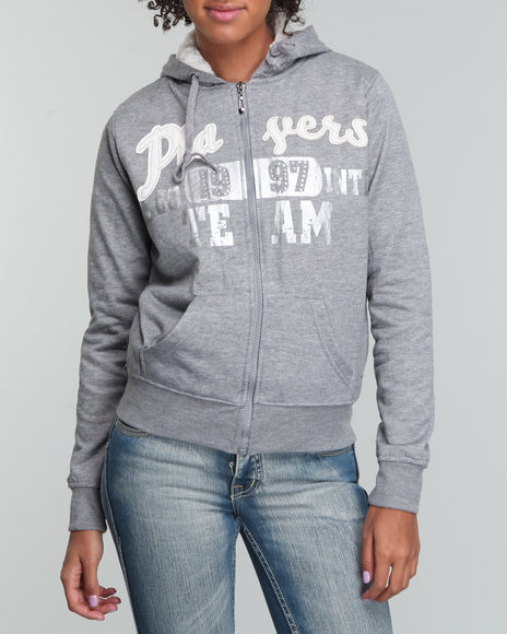 Basic Essentials Women Grey Sherpa Lined Hoodie