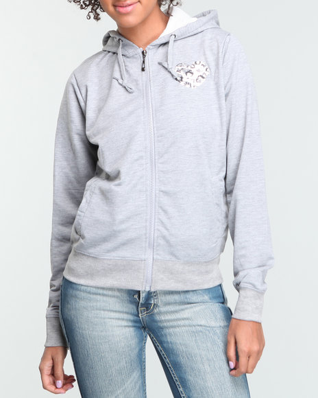 Basic Essentials Women Grey Heart On Her Sleeve Hoodie