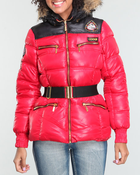 COOGI Women Red Nylon Belted Puffer W/Patches