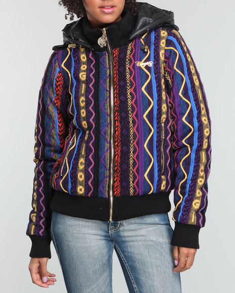 COOGI Women Multi Coogi Sweater Puffer Jacket W/Rib Collar Waist And Cuff