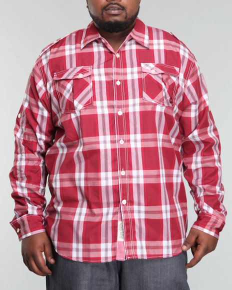 - Trout Roll Up Long Sleeve Plaid Woven Shirt (B&T)