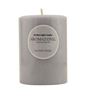 Lavender & Vanilla Essential Blend - One x Inch Pillar Essential Blends Candle Burns