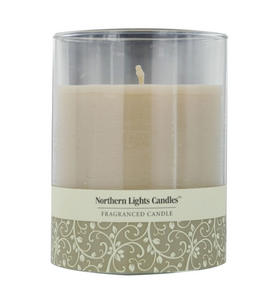 Sandstone Scented - One x Inch Glass Pillar Scented Candle Burns