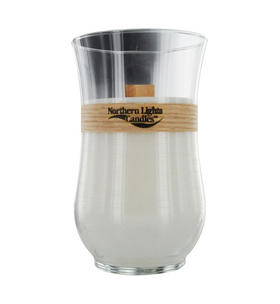 Toasted Vanilla Scented - One x Inch Woodland Natural Wick Glass Hurricane