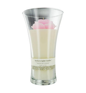 English Rose Scented - Pink Rose Flower Vase Candle One x Inch