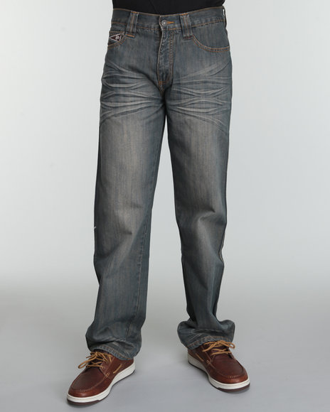 Pelle Pelle Men Dark Brown Barn Wash Patch Pocket Denim Jeans