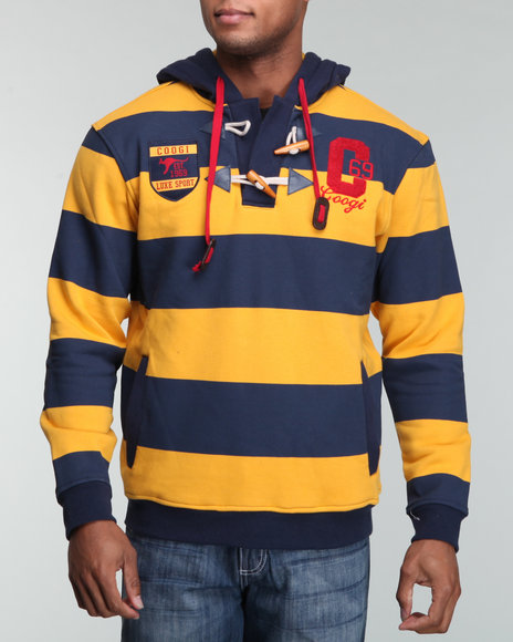 COOGI Men Blue,Yellow Stripe Pullover Hoodie W/ Toggles