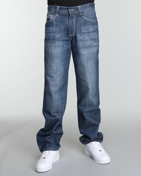 Pelle Pelle Men Medium Wash Blue Osaka Patch Pocket Denim Jeans