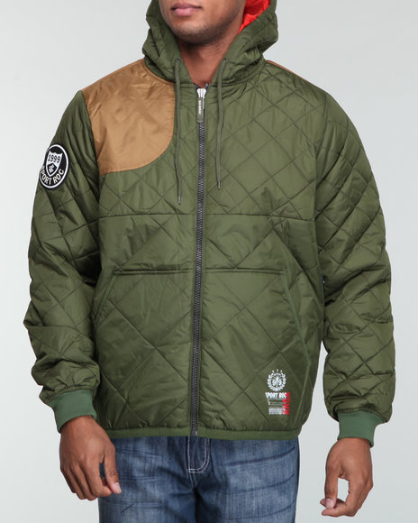 Rocawear Men Green Hunting Quilted Hoodie