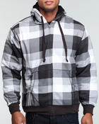 Men - Digi plaid full zip sherpa hoodie