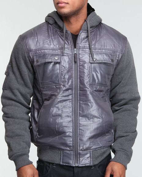 Basic Essentials Men Grey Knitted Patch On Hoodie Jacket