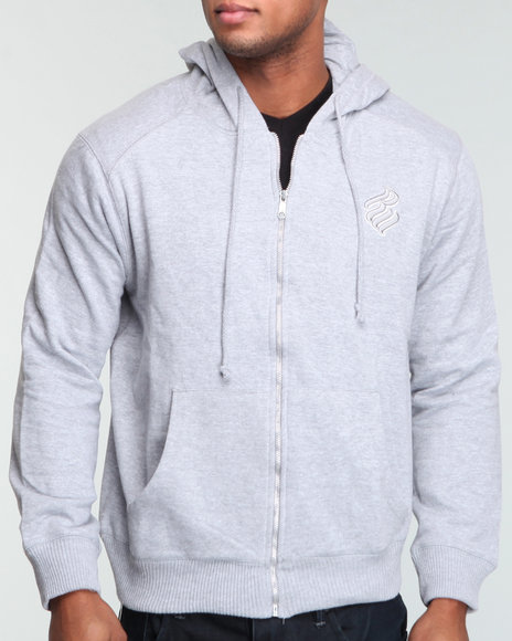 Rocawear Men Grey Heavyweight Zip - Up Hoodie