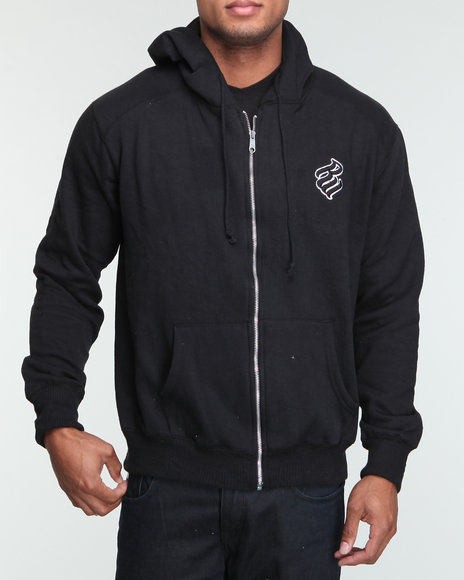 Rocawear Men Black Heavyweight Zip - Up Hoodie