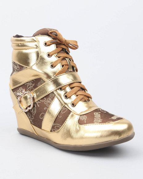 Apple Bottoms Women Gold Juno Buckle Logo Trim Wedge Sneaker