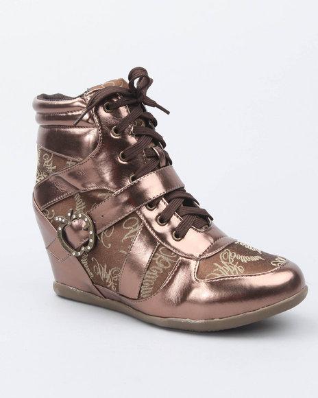 Apple Bottoms Women Bronze Juno Buckle Logo Trim Wedge Sneaker