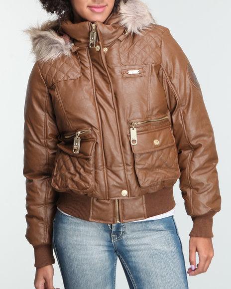Apple Bottoms Women Tan Faux Leather Fur Trim Hooded Puffer Jacket