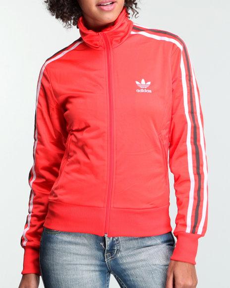 Adidas Women Red Adi Firebird Track Jacket