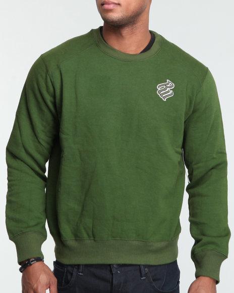 Rocawear Men Green Heavyweight Basic Crewneck Sweatshirt