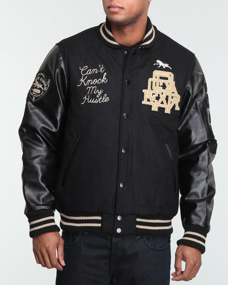 Rocawear Men Black Can't Knock My Hustle Wool Varsity Jacket