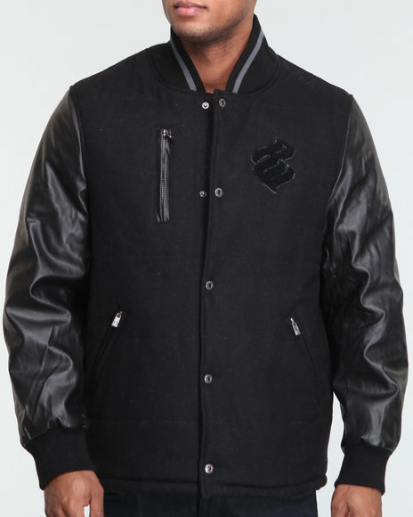 Rocawear Men Black Roc Flame Wool Jacket