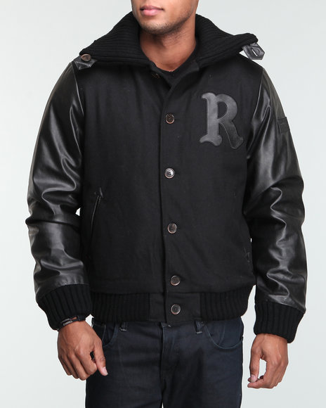 Rocawear Men Black Roc Sweater-Neck Varsity Wool Jacket