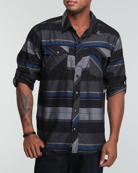 Enyce Men Black Navajo Roll Up Shirt