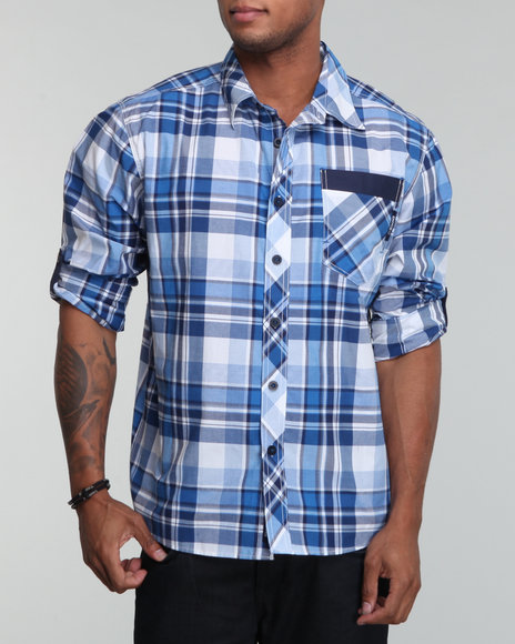 Enyce Men Blue Spur Roll Up Shirt