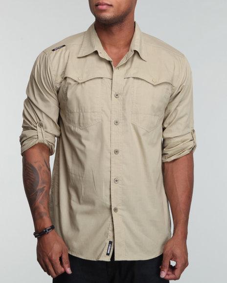 Enyce Men Khaki Rush Roll Up Shirt