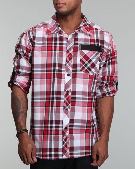 Enyce Men Crimson Spur Roll Up Shirt