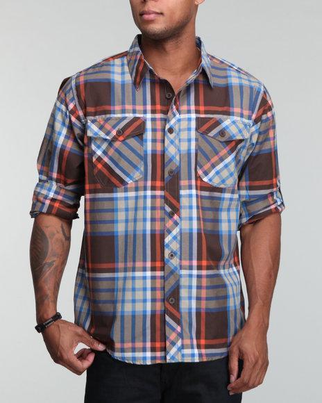 Enyce Men Blue Highland Roll Up Shirt