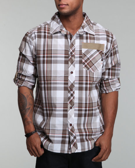 Enyce Men Khaki Spur Roll Up Shirt