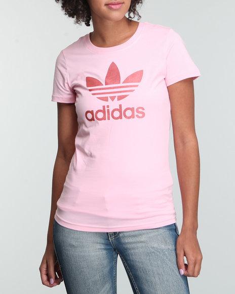 Adidas Women Pink Adi Trefoil Tee