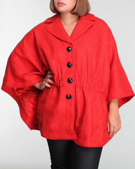 Steve Madden Women Red Wool Cape (Plus)