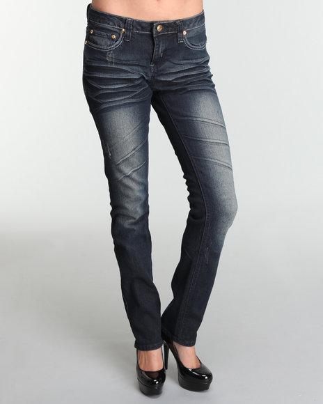 COOGI Women Blue Coogi Denim Jean Pants W/Back Picket Detail