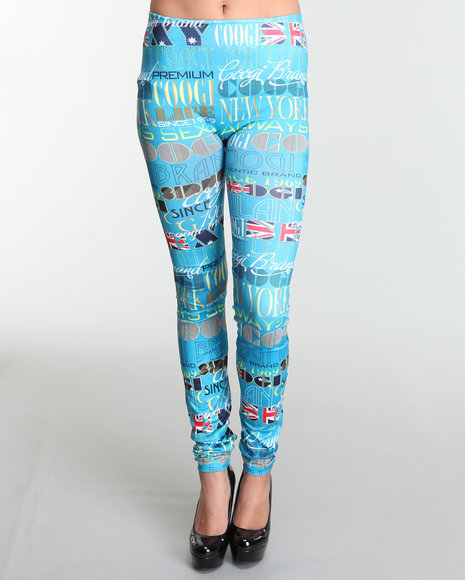COOGI Women Blue,Multi All Over Print Leggings