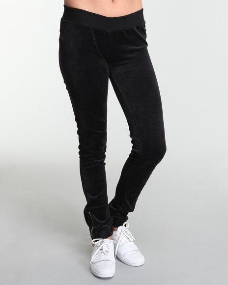 Apple Bottoms Women Black Apple Pocket Zipper Trim Velour Pant
