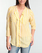 Polos & Button-Downs - Striped chiffon equipment button-down