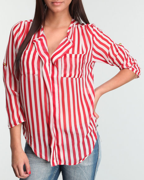 striped chiffon equipment button-down