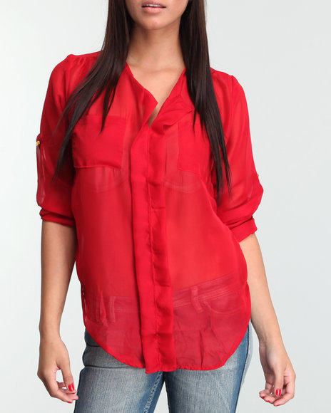 solid chiffon equipment button-down