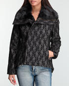 Bebe - Tara Lace wool coat w/faux fur collar
