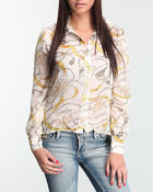 Polos & Button-Downs - Chiffon scarf print button-down