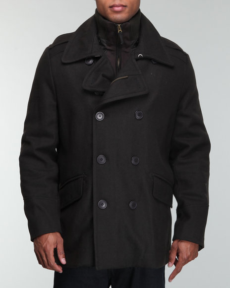 Levi's Men Black Melton Wool Peacoat Jacket W/ Knit Collar