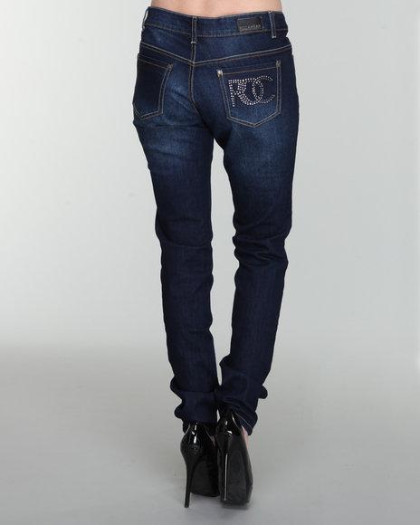 Rocawear Women Indigo Hear Me Roar Bling Finish Skinny Jean