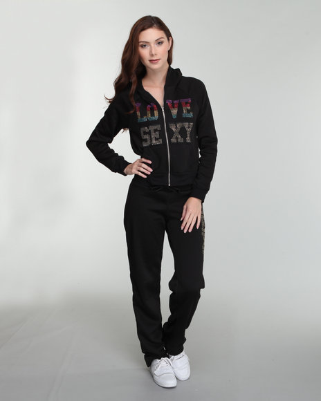 Fashion Lab Women Black Love Sexy French Terry Active Hoodie And Pant Set