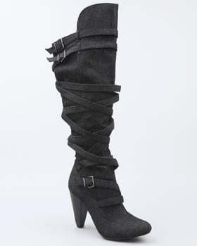 Fashion Lab - Luga strappy over the knee boot