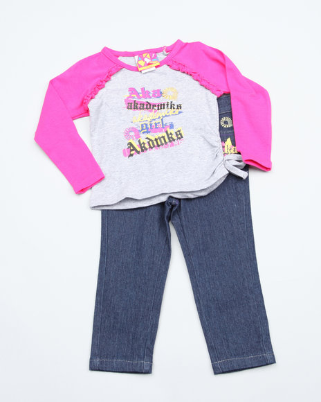 Akademiks Girls Pink 2 Pc Set - Top & Jeans (Infant)