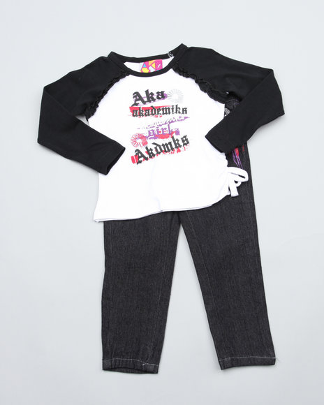 Akademiks Girls Black 2 Pc Set - Top & Jeans (Infant)