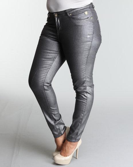 Apple Bottoms Women Charcoal Metallic Apple Pckt Logo Skinny Jean (Plus Size)
