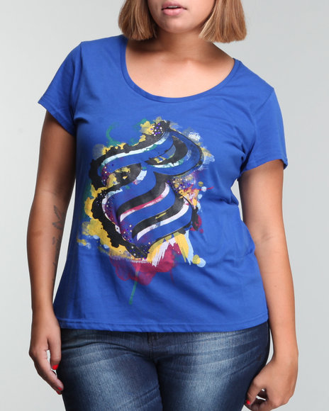 Rocawear Women Blue Glam Flam Graphiti Drip Graphic Tee (Plus Size)